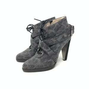 Rebecca Taylor 6 Animal Print Lace Up Ankle Bootie